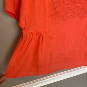 Lands' End Tops - LANDS' END Coral Embroidered 100% Linen Blouse